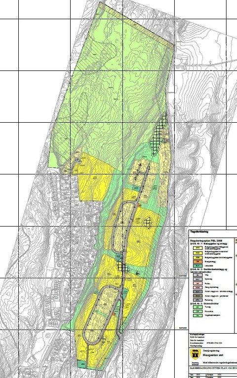 PLANKARTET: Slik ser plankartet for områdereguleringen av Maugesten ut. De lyse gule feltene er områdene for eneboliger, mens de gule feltene er konsentrert småhusbebyggelse og blokkbebyggelse.