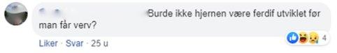 – GRUMS I KOMMENTARFELTET: Dette er et eksempel på en av meldingene som Jonas Andersen Sayed har fått.