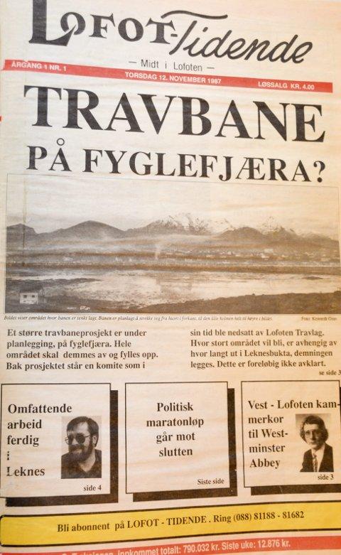 Forsiden til første Lofot-Tidende fra 1987.