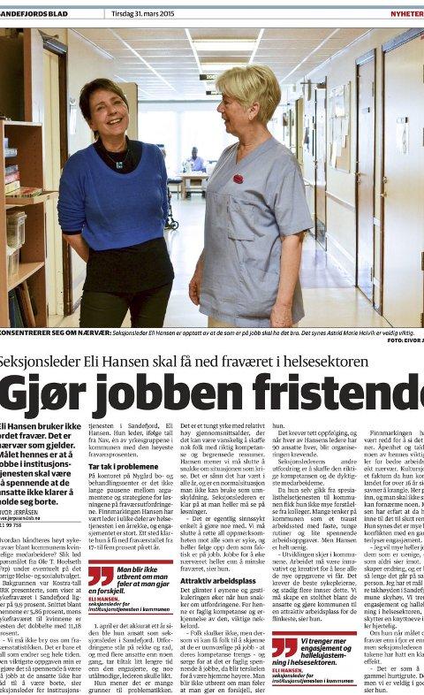 Nærvær: Sandefjords Blad skrev om seksjonsleder Eli Hansen som  jobber for økt nærvær på jobb i kommunen. Faksimile