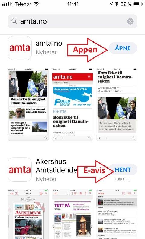 Når du søker amta.no i App-store, får du to valg. Velg den øverste for nettavisen og nyhetsvarsel. Den nederste er e-avisen, en statisk PDF-utgave av papiravisen.