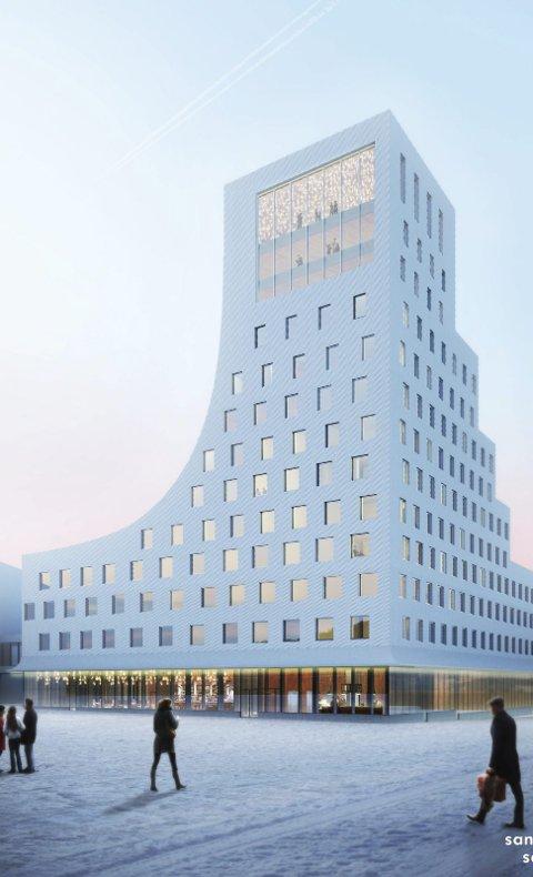 Landemerke: Det nye hotellet i Kiruna blir et tydelig landemerke. Toppetasjen av bygget vil romme både skybar og treningssenter. Ill: Sandell Sandberg