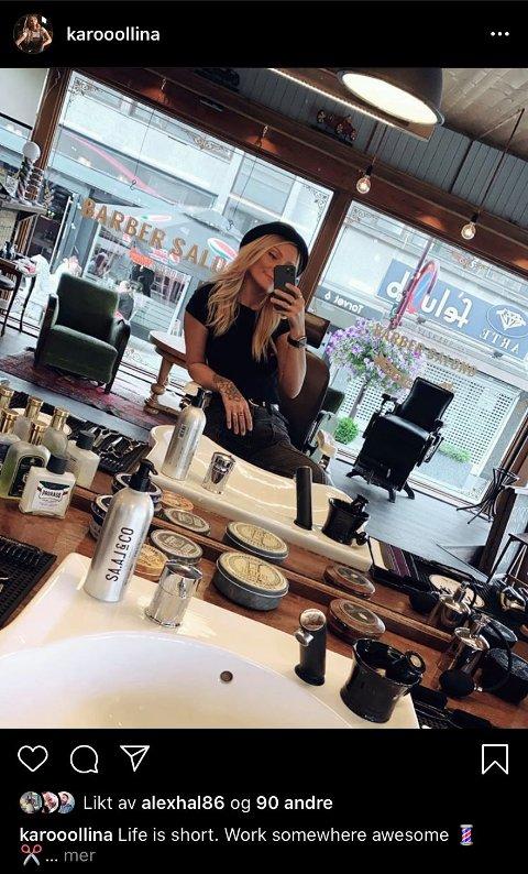 ELSKER JOBBEN: Karolina Gutauskaite deler bilder fra sin nye jobb på sin Instagram profil.