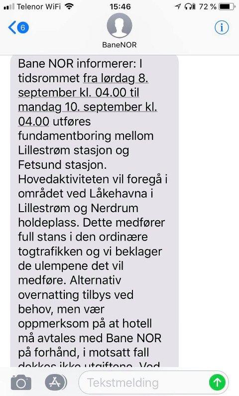 ALTERNATIV OVERNATTING: Bane Nor tilbyr alternativ overnatting til naboer som kan være berørt av arbeidet som utføres på Kongsvingerbanen.