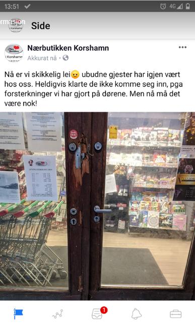 TVITRET: Nærbutikken tvitret om tildragelsen i Korshamn noe tidligere i dag.