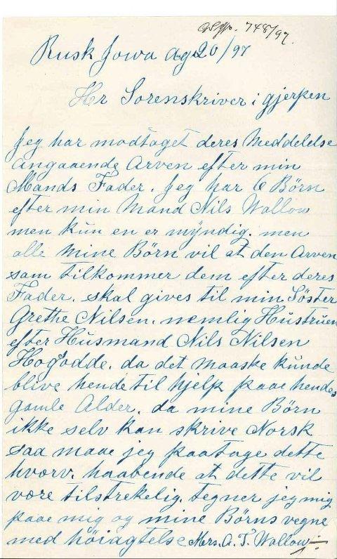 TØRKET BLEKK: Dette vakre brevet skrevet med sirlig håndskrift er et vedlegg til et arveskifte som statsarkivar Nils Johan Stoa fant da han lette seg bakover i historien sin.