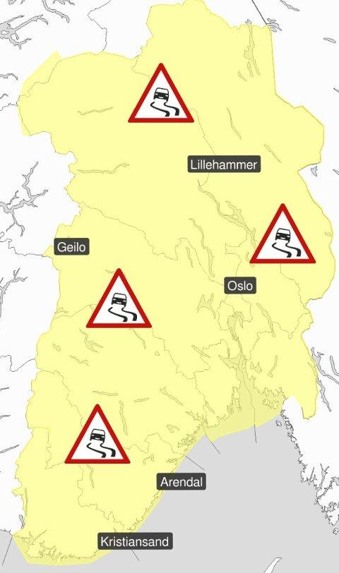 Vanskelige kjøreforhold: Det ventes vanskelige kjøreforhold østafjells. Farenivået ligger på gult.