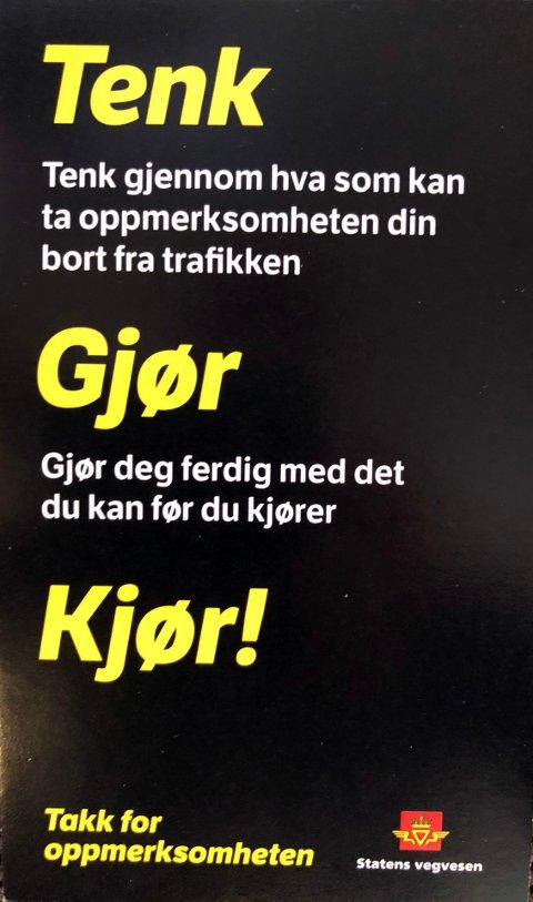 RÅD: Her er noen av rådene mange bilister vil få fra Statens vegvesen i tiden fremover.