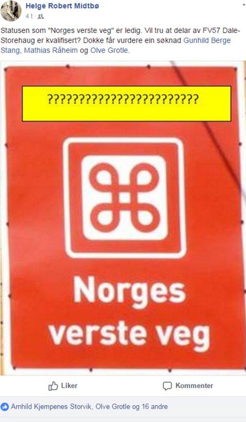 HUMOR: Facebookposten til Helge Robert Midtbø.