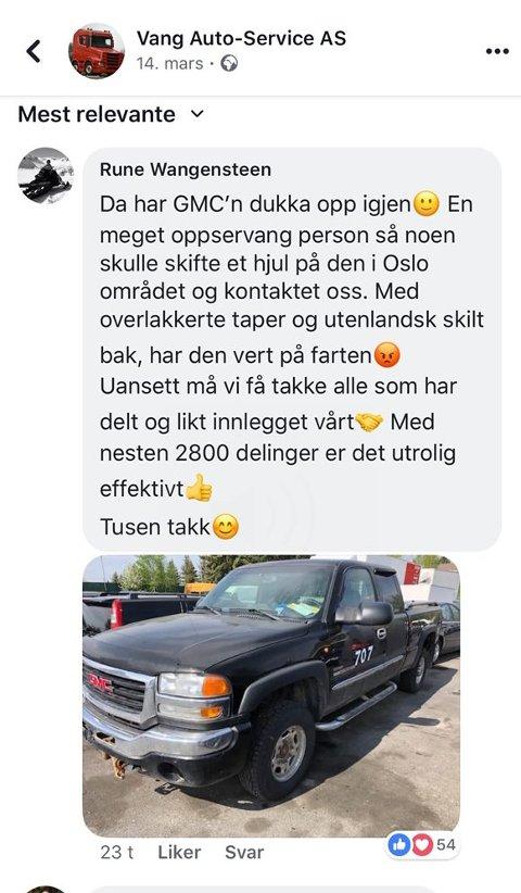 Facebook: Sosiale medier kan fungere veldig bra for å varsle andre. Det viser meldinga fra Arve Wangensteen.
