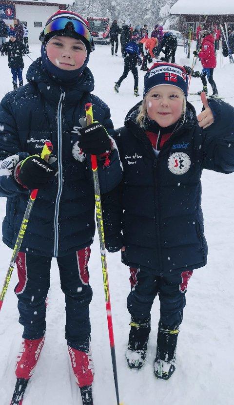 Fornøyd: Hans Øyvind Sundve og Kristiane Sundve på Skrimrennet. Alle foto: Sande sportsklubb ski