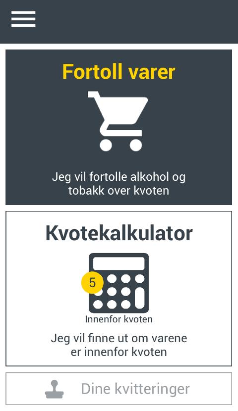 LETT Å REGNE UT: Appen kan brukes til både utregning av kvote og fortolling. (Foto: Skjermdump, KvoteAppen)
