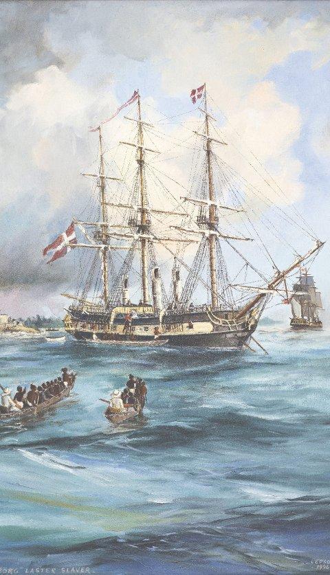 Dette oljemaleriet av Ant Lepson viser dansk-norske «Fredensborg» som laster slaver i Vest-Afrika. Maleriet tilhører KUBEN, Aust-Agder museum og arkiv, Arendal.)