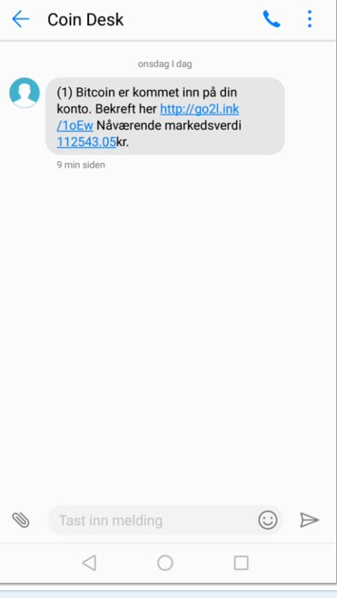 Denne SMS-en kom til ein av Kvinnheringen sine lesarar nyleg, og lesaren mistenker at det handlar om eit svindelforsøk.