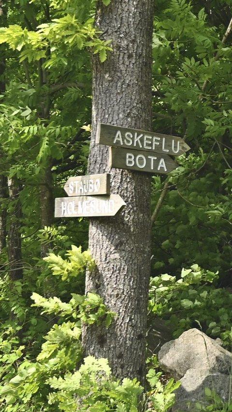 Turstiene på Tverdalsøy er godt merket med skilt.