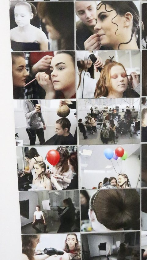 I ARBEID: Denne kollasjen har lærer Nils-Åge Kolås fotografert for å vise elevene fra begge skolene i aksjon.