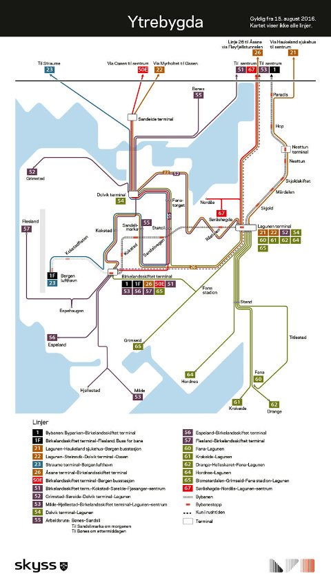 Det nye linjekartet for Ytrebygda bydel. Klikk på bilde for å få linjekartet større.
