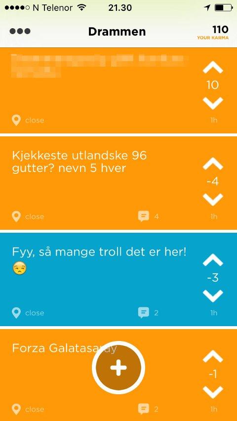 ANONYME INNLEGG: Dette er snille eksempler på hva som legges ut anonymt på appen Jodel. Drammens Tidende ønsker ikke å viderebringe mobbing av grupper og enkeltpersoner.