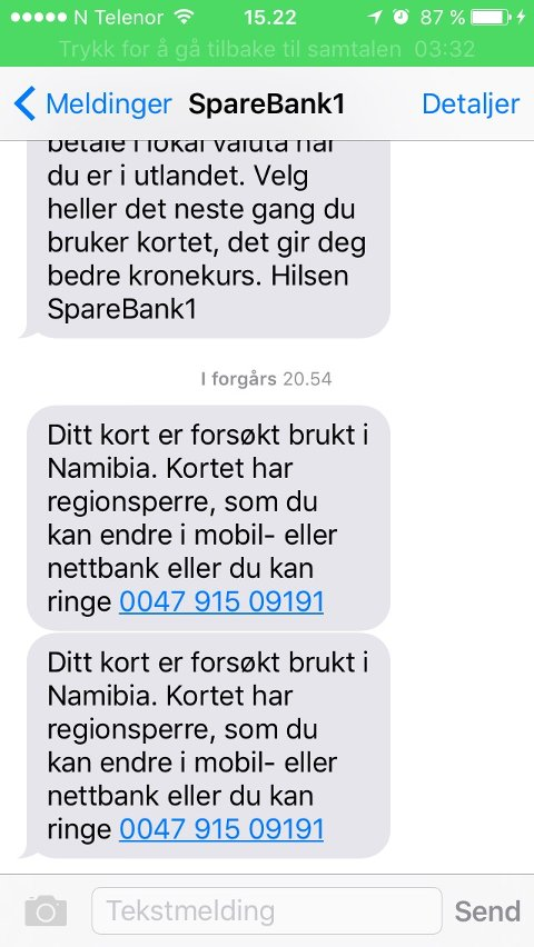 FIKK SMS: Kai Lund fikk tre meldinger på rappen fra banken da han forsøkte å bruke Visa-kortete i brusautomaten.