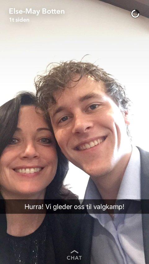 Else-May Botten og Fredric Holen Bjørdal jublet på Snapchat etter at nominasjonen var klar.