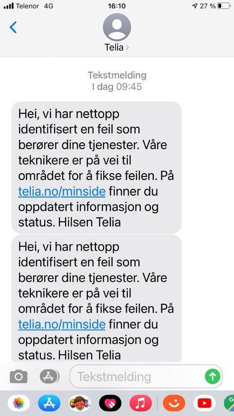 Telia har gjennom dagen sendt ut en rekke sms-er for å informere sine kunder. Fiberbruddet i dag berører omtrent 3000 personer, sier Telia.