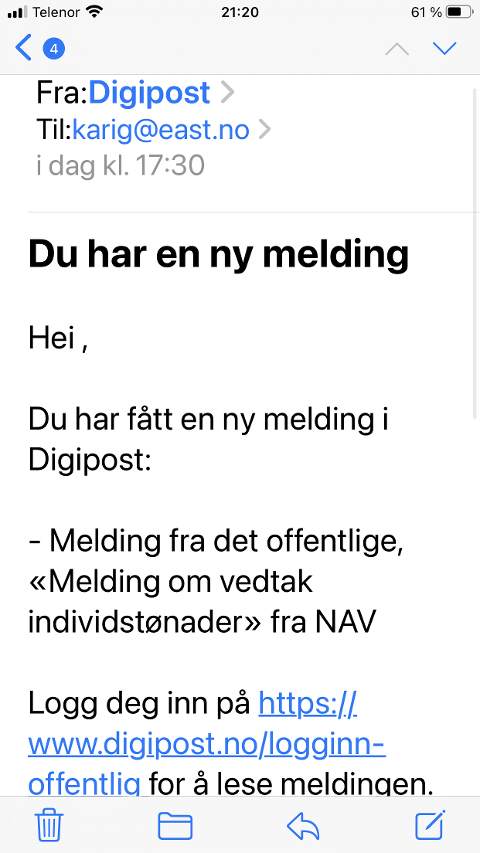 Denne e-posten ser veldig ekte ut, men er falsk.