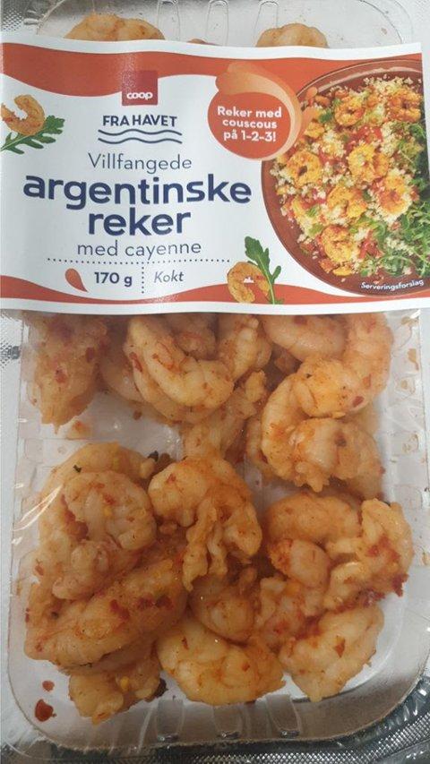 Oslo 20200824.  Coop kaller tilbake Villfangede argentinske reker med cayenne, 170 gram kokte, etter mistanke om listeria i produktet. Foto: Coop / NTB scanpix