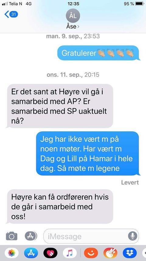 TILBUDET: Her er meldingen fra Åse B. Lilleåsen i Sp, hvor hun tilbyr Høyre å få ordføreren ved et samarbeid. Forhandlingsleder Geir Kvisler mener slike henvendelser skal gå igjennom ham.
