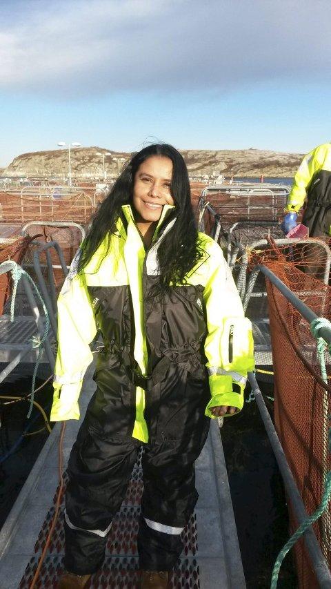 STIPENDIAT: Forsøksleder Cecilia Campos Vargas ved Helgeland Havbruksstasjon. Foto: Privat