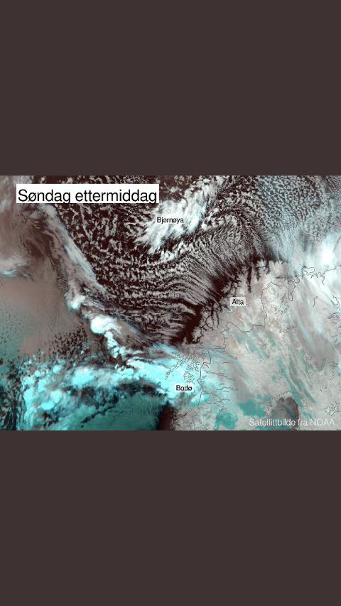 """SATELITTBILDE: Vi ser kraftige bygeskyer over Lofoten og Salten (og Bjørnøya). I Troms og Finnmark dannes det skygater i et nydelig viftemønster når den iskalde fralandsvinden blåser over det """"varme"""" havet"""
