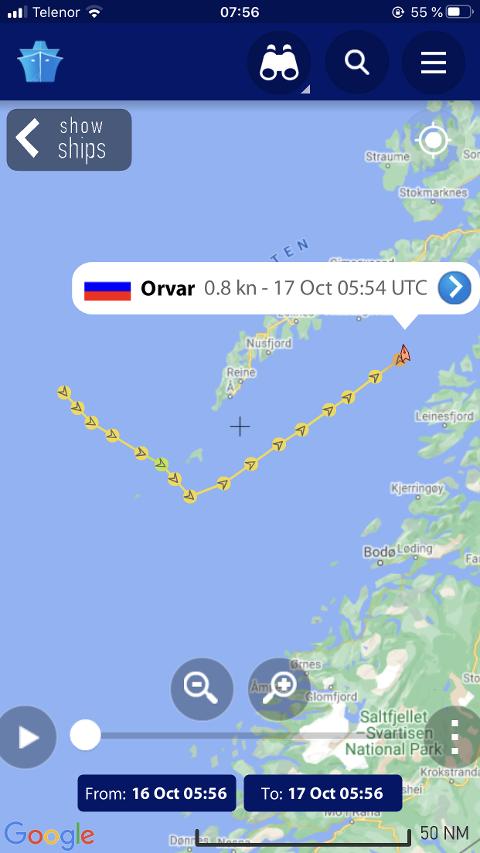 Tråleren Orvar kom inn Vestfjorden fredag kveld for å søke ly fra uvær.
