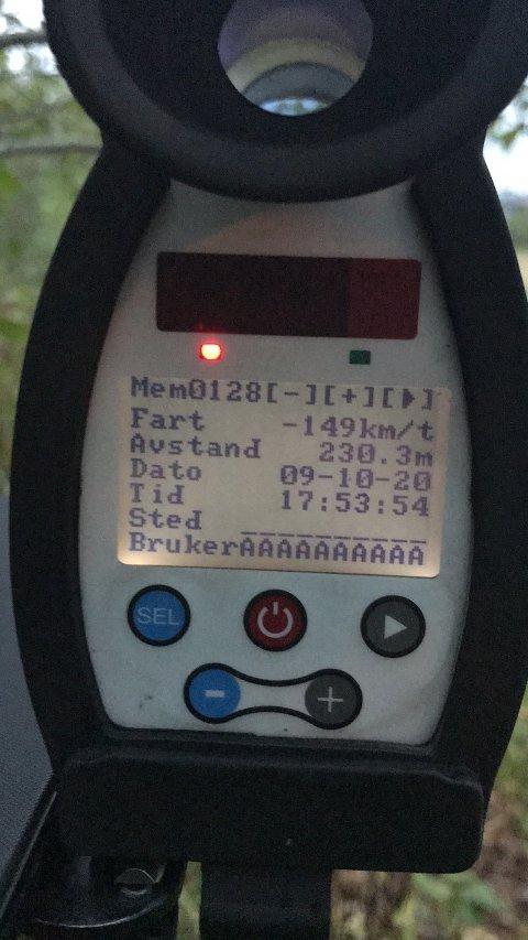 Ble målt til 149 kilometer i timen i 90-sonen.