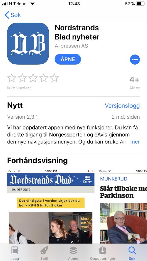 Last ned denne appen i App Store eller Google Play og du får pushvarsler fra Nordstrands Blad med lokale nyheter.