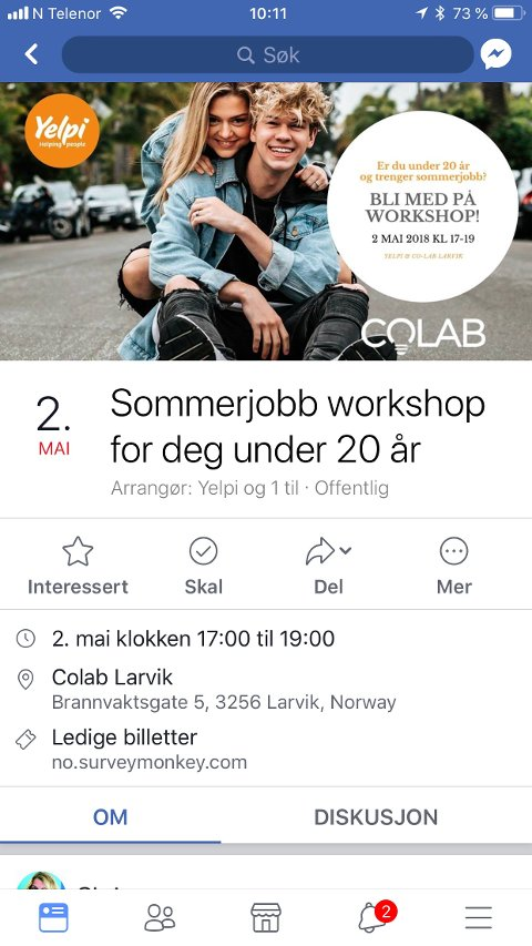 Gå inn på Yelpis siden på Facebook for å melde deg på workshop.