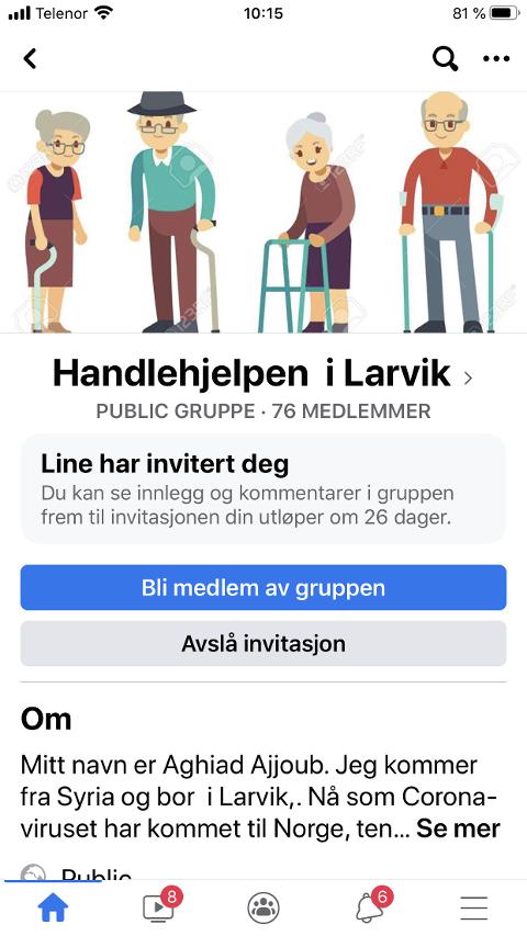 HANDLEHJELP: Her er Facebook-gruppen som tilbyr hjelp til eldre og folk som ikke kan gå på butikken selv på grunn av coronaviruset.