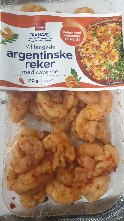 Coop har funnet spor av listeria i «Villfangede argentinske reker med cayenne». Foto: Coop / NTB scanpix