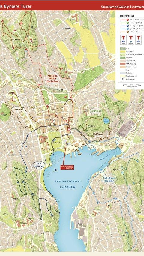 Ut på tur: Karet viser løypa for de fem turene.