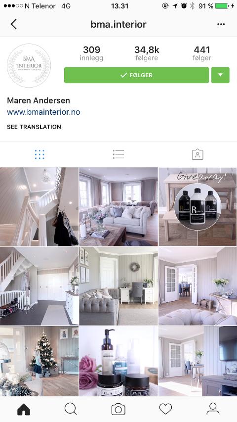 – Lyst, klassisk, litt romantisk interiør treffer veldig mange, sier Maren Andersen, som deler bilder av hjemmet sitt på Instagram. Det vil titusener følge med på og antall følgere øker jevnt.