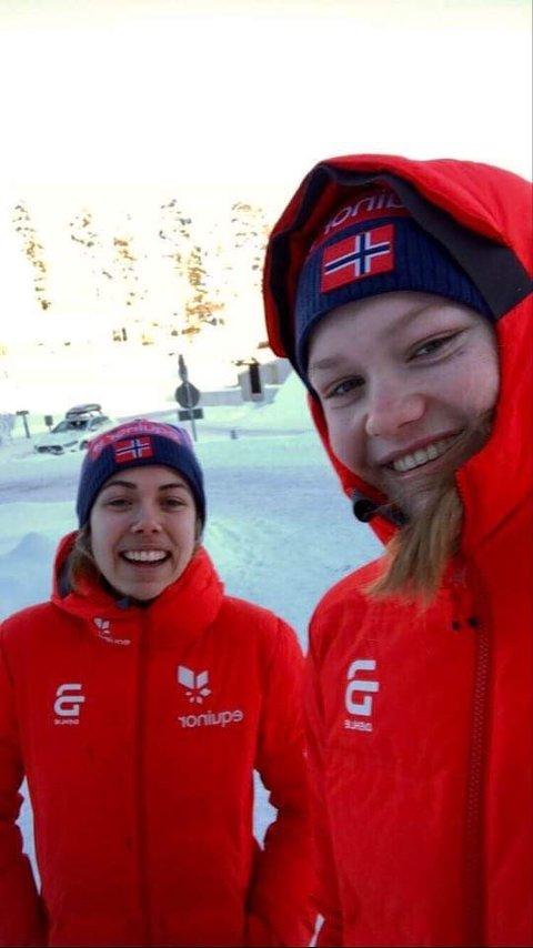 I FINLAND: Margrethe Bergane (bak) og Maria Hartz Melling er begge store langrennstalenter fra Konnerud. Gjennom den neste uken skal de delta i junior-VM i Finland.