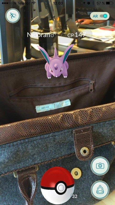 PASS PÅ: Det er ikke lurt å ha nesa for langt ned i mobiltelefonen, når en spiller Pokémon Go. Men jakt i egen veske er ganske trygt.