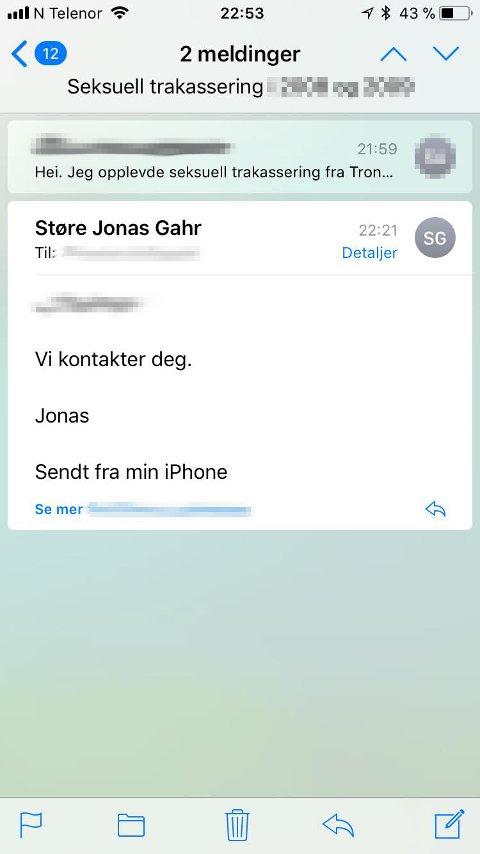 VARSLING: Partileder Jonas Gahr Støre responderte på kvinnens varsel personlig.