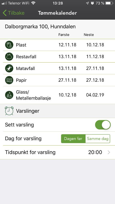 TØMMEKALENDER: Med appen «Min Renovasjon», kan du få varsler om neste tømming rett på telefonen.