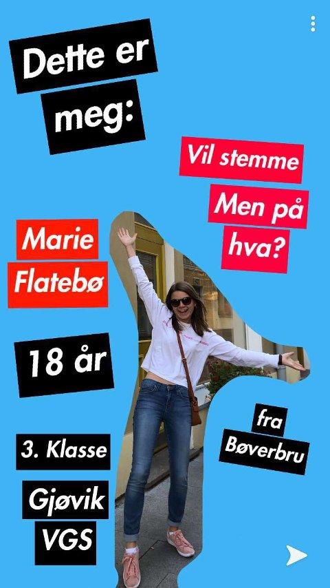 SNAP OG INSTA: På OAs kanaler kan du følge Marie Flatebø på hennes ferd mot å ta et veloverveid valg. Foto: Selfie
