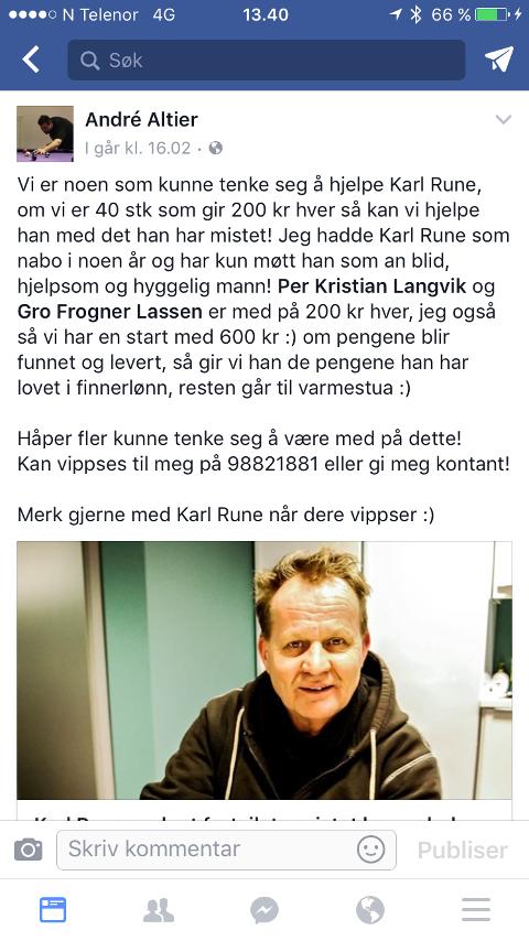 INNSAMLING: Meldingen på Facebook av Andre Altier, som oppfordret til å hjelpe Karl Rune Schau, har allerede resultert i at flere har gitt penger.
