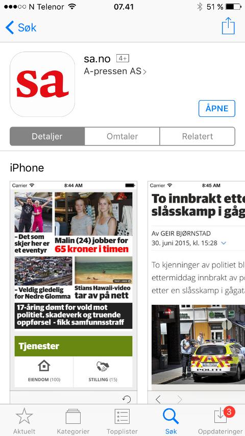 Slik ser SA ut i App Store.