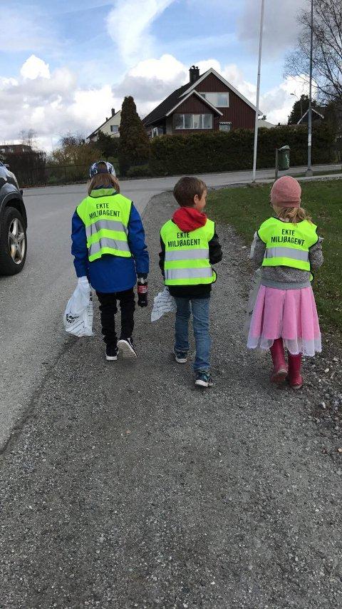 PLUKKER SØPPEL: Miljøagentene var delt inn i roder og saumfarte byggefeltene i Spydeberg.