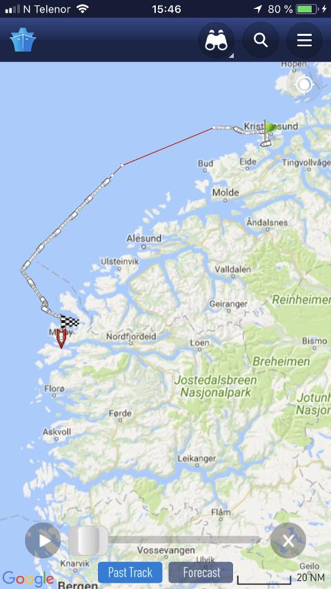 Skipet seilte ut fra Averøy fredag kl 1800.