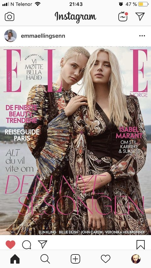 MODELL: Emma Ellingsen pryder neste måneds utgave av motemagasinet Elle.
