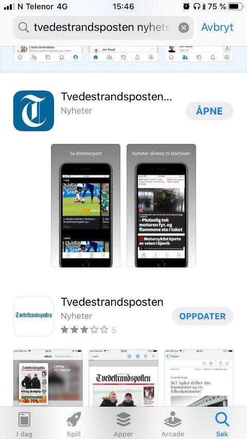 Last ned Tvedestrandsposten-appen i App-store.
