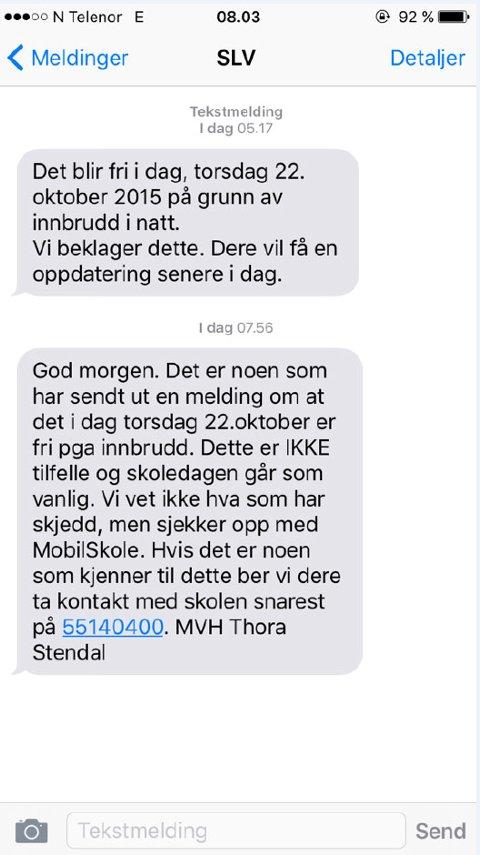 Disse meldingene fikk elevene ved Slåtthaug vgs torsdag morgen.